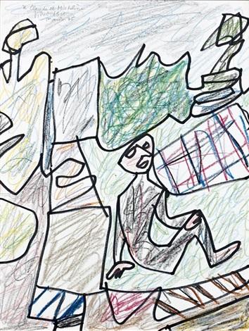 paysage a lhomme assis dans lherbe 9 septembre by jean dubuffet