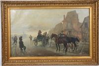 scène de rue du xixème siècle by eugène courboin