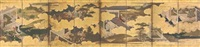 six scenes from the tale of genji (eight-panel screen) by japanese school (17)