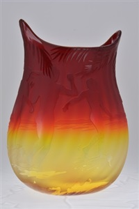 sunset spirit vase by blenko glass company