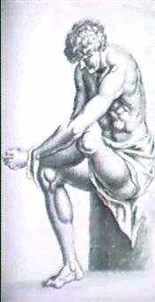 sitzender jungling, das rechte bein aufgelegt und beide   hande am knochel; stehender jungling in ruckenansicht by wolfgang kilian
