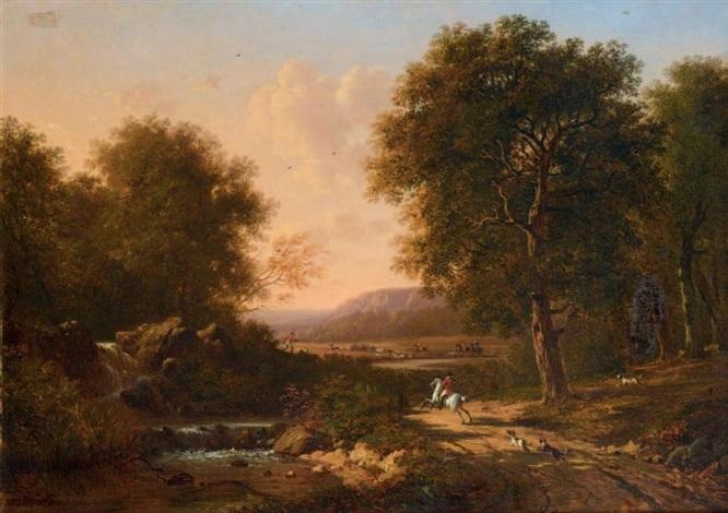 scène de chasse à courre en forêt by victor de grailly