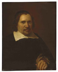 portrait of a man holding gloves by jan de bray