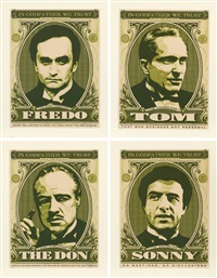 shepard fairey godfather set (the don, sonny, fredo, tom) (set of 4) by shepard fairey