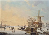 a winter landscape with figures ice skating by a bridge and windmill (+ a winter landscape with figures ice skating and a horse and cart; 2 works) by a. de groote