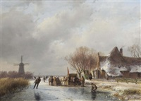 a winter landscape with skaters on a frozen waterway by andreas schelfhout