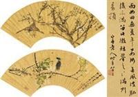 花鸟 (2 works + colophon; various sizes) by ren bonian and zhao ruhu