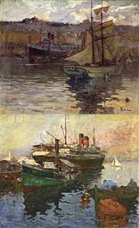 navires dans le port d'alger (various sizes; 2 works) by alexandre rigotard