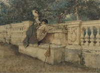 flirtation on a stone balustrade by giovanni battista filosa