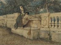 flirtation on a stone balustrade by giovanni battista filosa