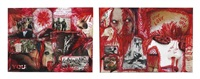 red serie (love hate) (2 works) by thomas hirschhorn