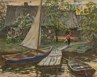 le voilier amarré by alexandre bobovski