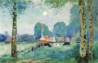 paysage estival avec vaches by edmond verstraeten