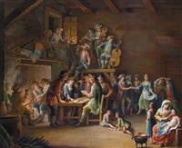 interno di osteria con musicanti, danzanti e giocatori di carte - musikanten, tanzende und kartenspieler in einem wirtshaus by giovanni battista innocenzo colombo
