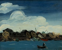gravelines. barques a maree basse by andré derain