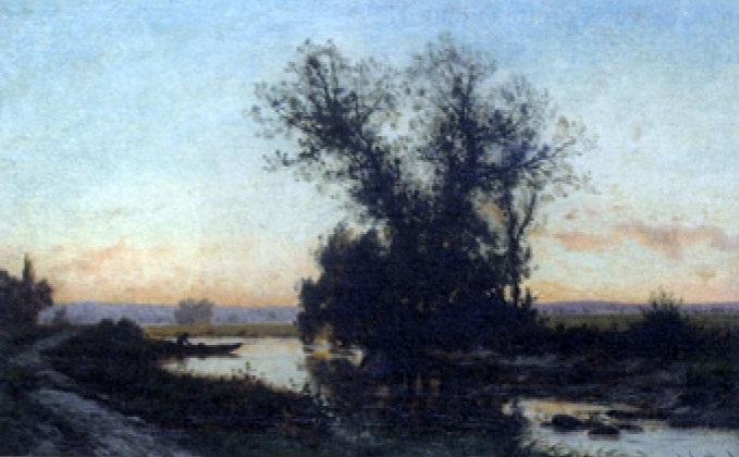 bord de rivière au coucher de soleil by alexandre charles joseph gittard
