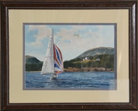 sailing by bear island (maine) by michael davidoff