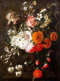 pronkstilleven met tulp, rozen en vlinder by gaspar pieter verbruggen the elder