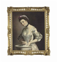 a lady's maid soaping linen by henry robert morland