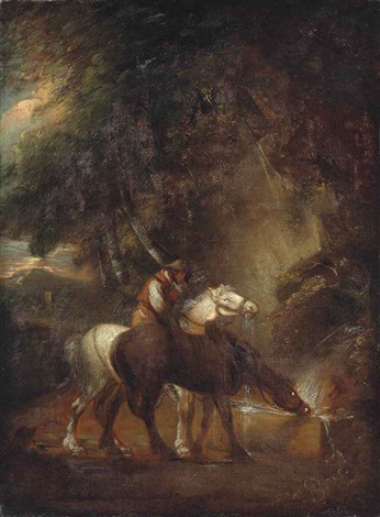 horses watering in a landscape by thomas gainsborough