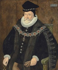 portrait of edward fiennes de clinton, 1st earl of lincoln (1512-1585), half-length, in a black embroidered fur-lined coat by british school (16)
