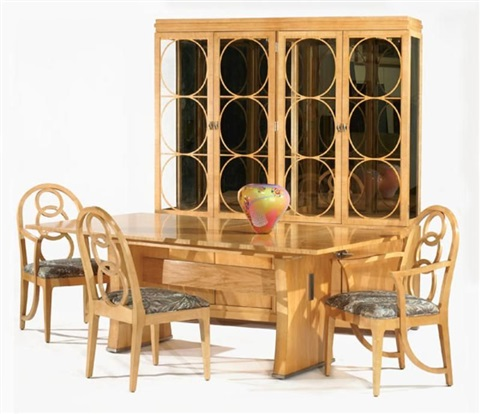 Dining ensemble trestle table buffet china cabinet and for Ensemble table buffet
