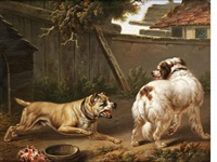 dogs fighting before a kennel by charles towne