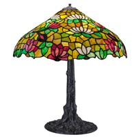 table lamp with lotus shade and tree trunk base by chicago mosaic lamp company