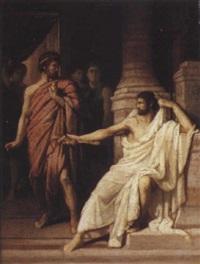 coriolan se réfugie chez tulles, roi des volsques by louis hector leroux