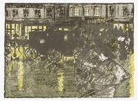rue le soir, sous la pluie, pl. 10 (from quelques aspects de la vie de paris) by pierre bonnard