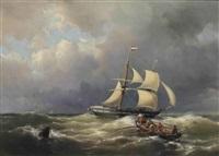 a schooner in a choppy sea by hermanus willem koekkoek