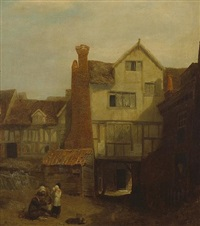 a view of a courtyard with figures by william mulready