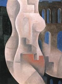 komposition mit weiblichem torso und architekturelementen by auguste sandoz