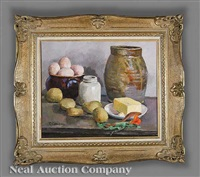 still life with bowl of eggs, potatoes and earthenware jug by eugene louis corneau
