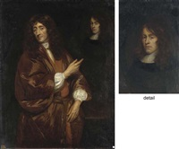 portrait of a gentleman (john locke?) in a russet gown, pointing at an oval portrait of a gentleman (john milton?) by anglo-dutch school (17)