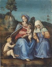 la madonna col bambino, santa elisabetta e san giovannino by bacchiacca