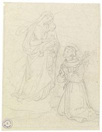 studie zur madonna mit kind und dem hl. franziskus (study) (+ studie zur madonna mit kind, verso) by josef von führich