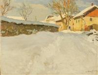 hamlet in a snowy mountain landscape by alfred swieykowski
