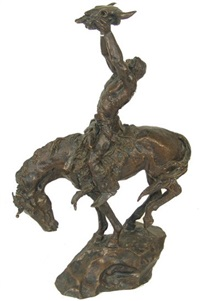 warrior on horseback with bow case and quiver holding a buffalo skull up to the creator by buck mccain