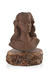 bust of a young woman with flowing hair by loma lautour