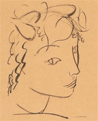 tête d'une jeune fille (+ mädchenköpfe; 2 works) by maurice barraud