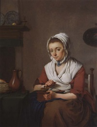 a maid grinding coffee by jacobus johannes lauwers