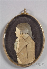 dressed portrait (+ portrait of a gentleman, c.1840, watercolor on ivory; verso) by mary way
