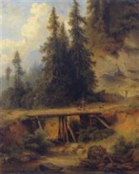 landschaft mit jäger auf einer holzbrücke by rieger