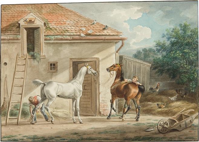 edle pferde vor einem stall study verso by albrecht adam