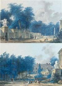 vue (l'entrée des tuileries?) avec les groupes des chevaux de marly (+ vue (l'entrée de la place de la concorde?); pair) by antoine pierre mongin