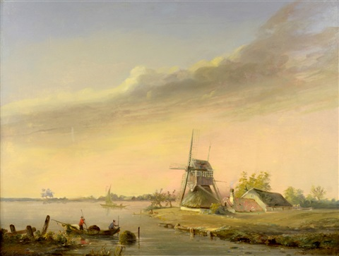 seaside landscape with a windmill by simon van gelderen