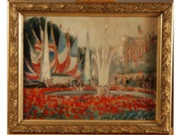 pavoisement à la fontaine du rond-point des champs elysées à paris à l occasion de la réception des souverains britanniques by suzanne tourte