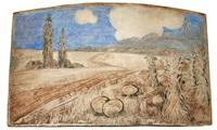 large triptych of pumpkin field by batchelder tiles