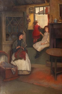 interior scene with mother and her two daughters by caroline burland gotch